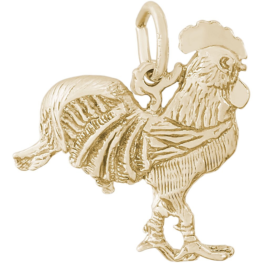 Rembrandt Sterling Silver Two-Tone Rooster Charm on a Sterling Silver Rope Chain Necklace