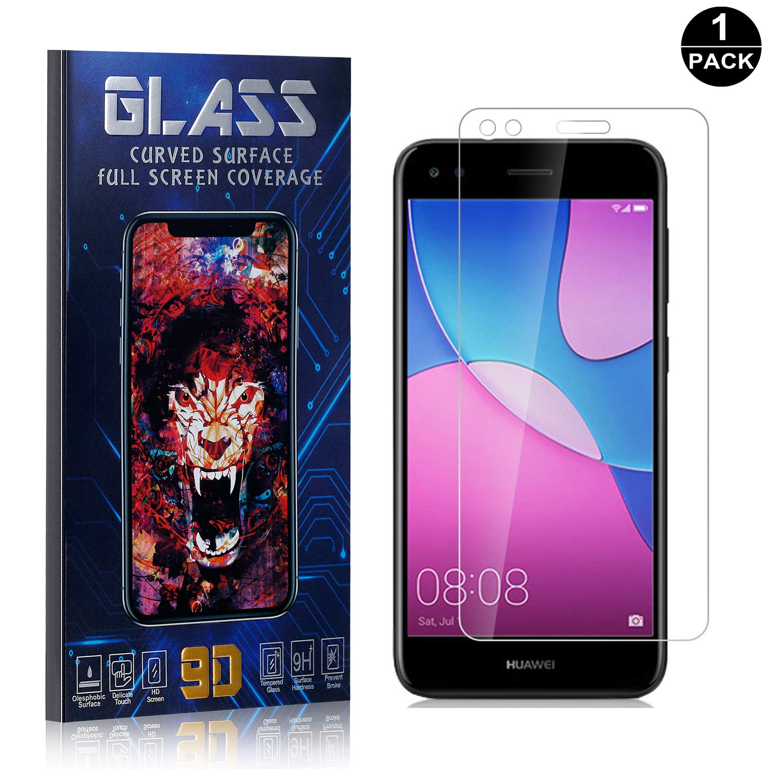 Bubble Free Screen Protector Tempered Glass Screen Protector UNEXTATI Screen Protector for Huawei P9 Lite 1 Pack Anti Scratch