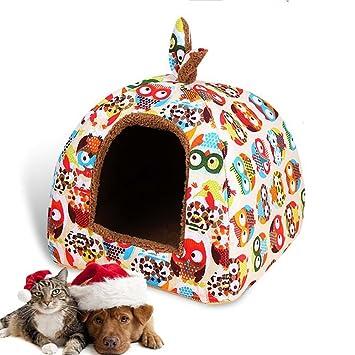 LA VIE Casa para Mascota Cueva Igloo para Perros con Cojín y Base Antideslizante Nido Cama de Gato Plegable Cómoda para Gatos Perros Pequeños M Búho: ...