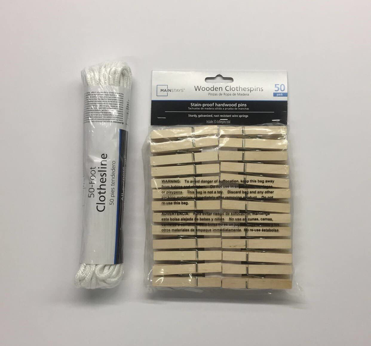 Mainstay Clothesline Rope and Clothes Pins