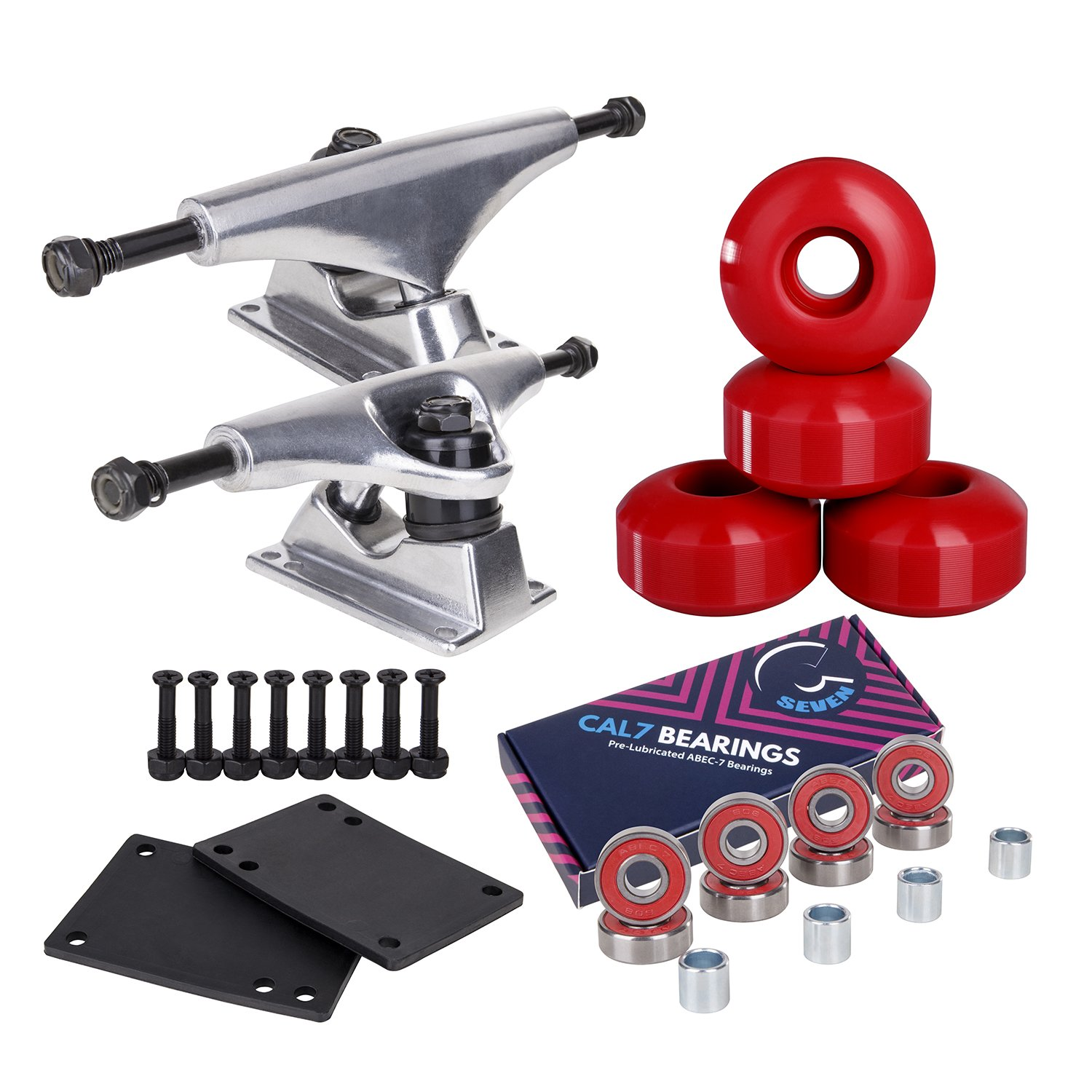 Cal 7 Skateboard Package Combo with 5 Inch / 129 Millimeter Trucks, 52mm 99A Wheels, Complete Set of Bearings and Steel Hardware (Silver Truck + Red Wheels) by Cal 7