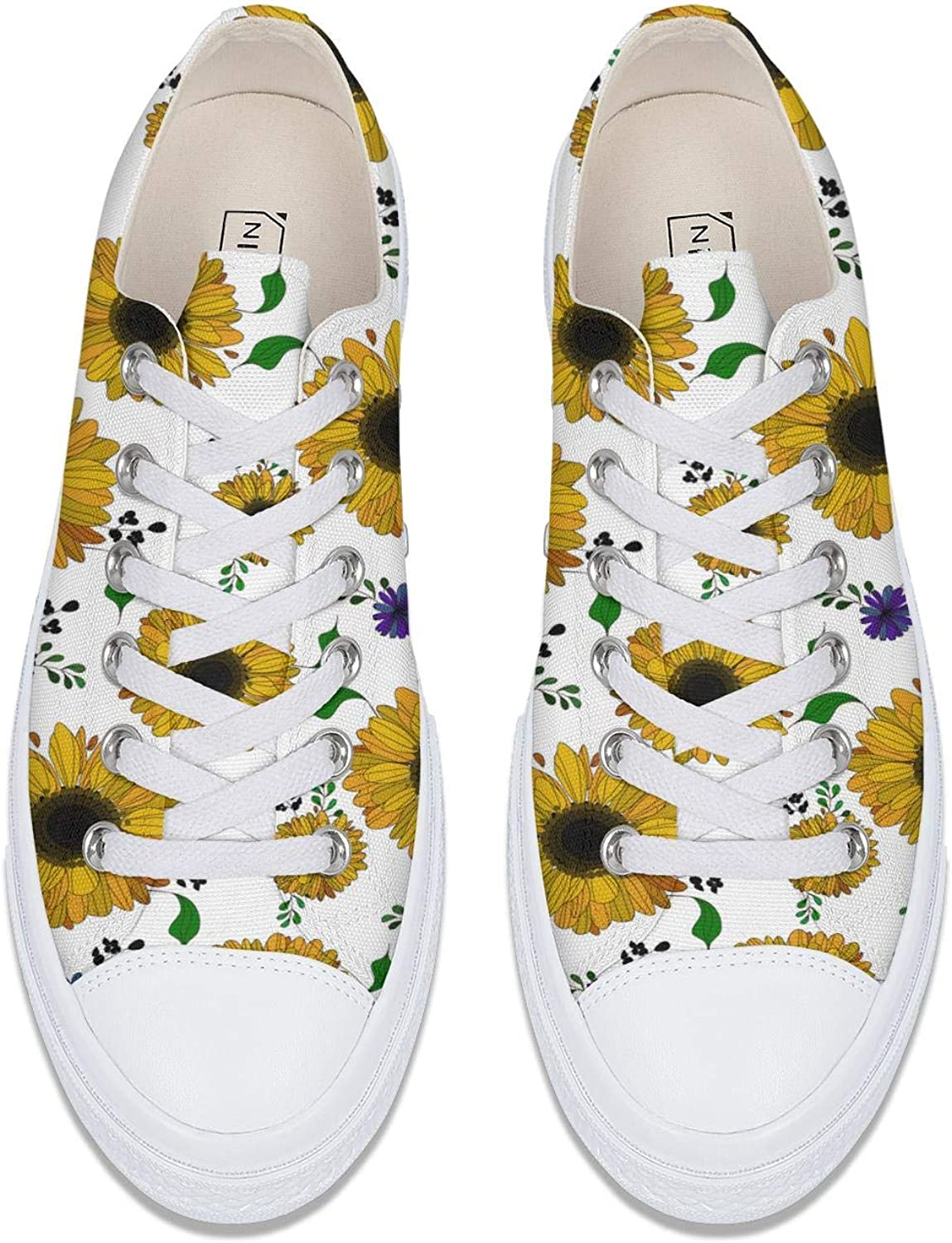 ZJING Yellow Sunflowers White Background Womens Canvas Shoe Lace Up Skate Shoes Unique Outdoor Sneakers