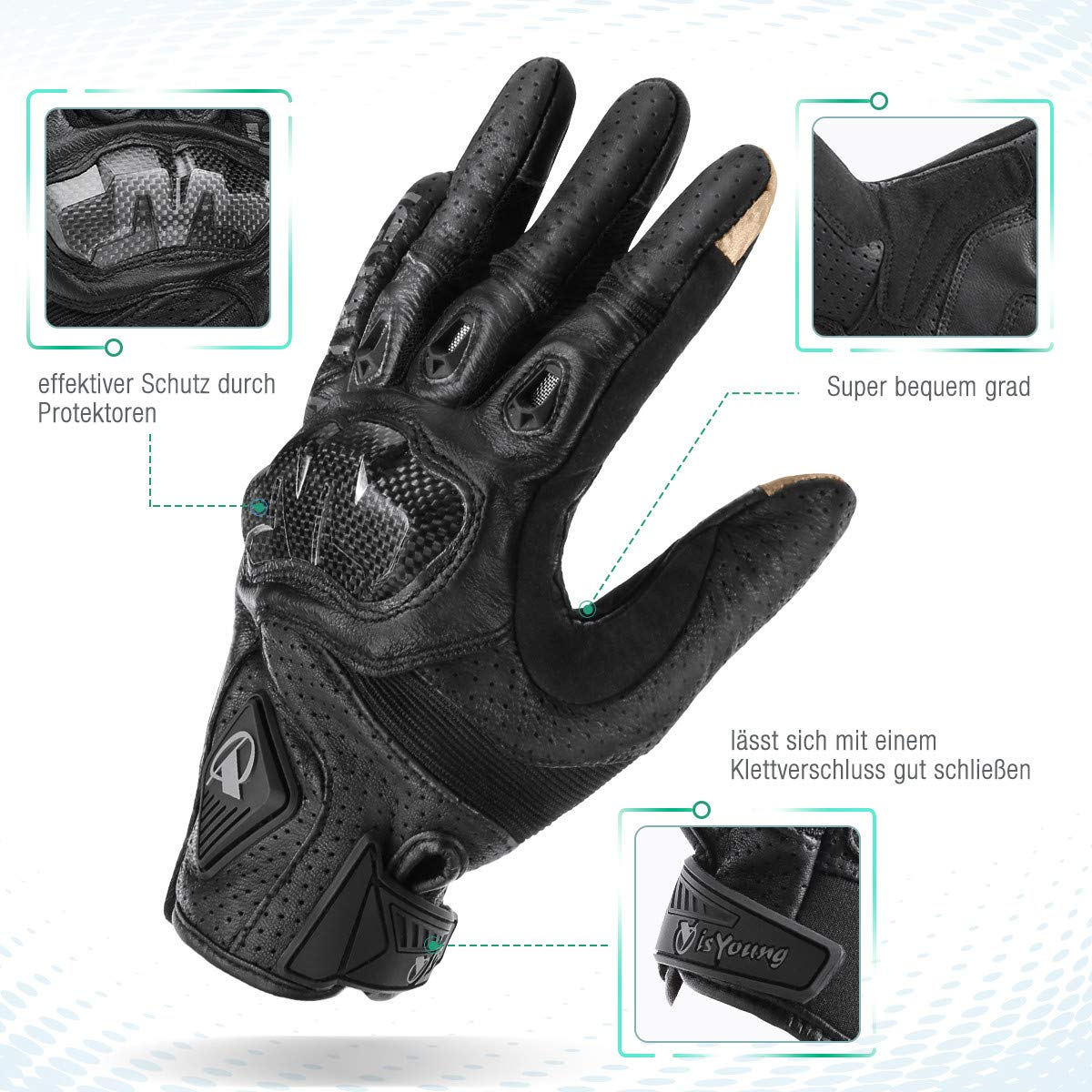 isYoung Touchscreen Fahrradhandschuhe geeiget f/ür Radsport MTB Road Race Motorrad Wandern und andere Sports Unisex Herren Damen