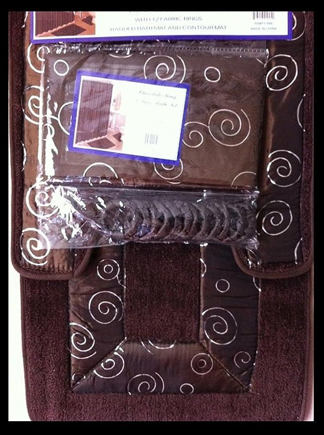Amazon.com : 4 piezas de baño Rug Set / 3 Piezas Anillo chocolate Alfombras de baño con ducha y cortina de tela a juego Mat / anillos : Garden & Outdoor