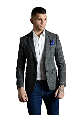 e6136a3efa5e Marc Darcy Mens Blazer Jacket Mix Tailored Tweed Herringbone Checkered  Formal Dinner Suit Coat: Amazon.co.uk: Clothing