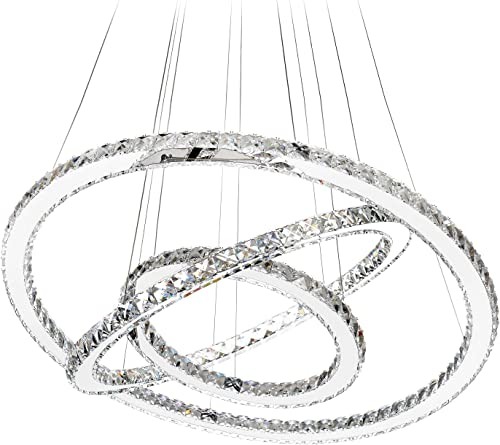 MEEROSEE MD8825-864MNCW Crystal Modern LED Ceiling Fixtures Dining Room Pendant Lights Contemporary 3 Rings Adjustable Stainless Steel Chandelier, Cool White 3r