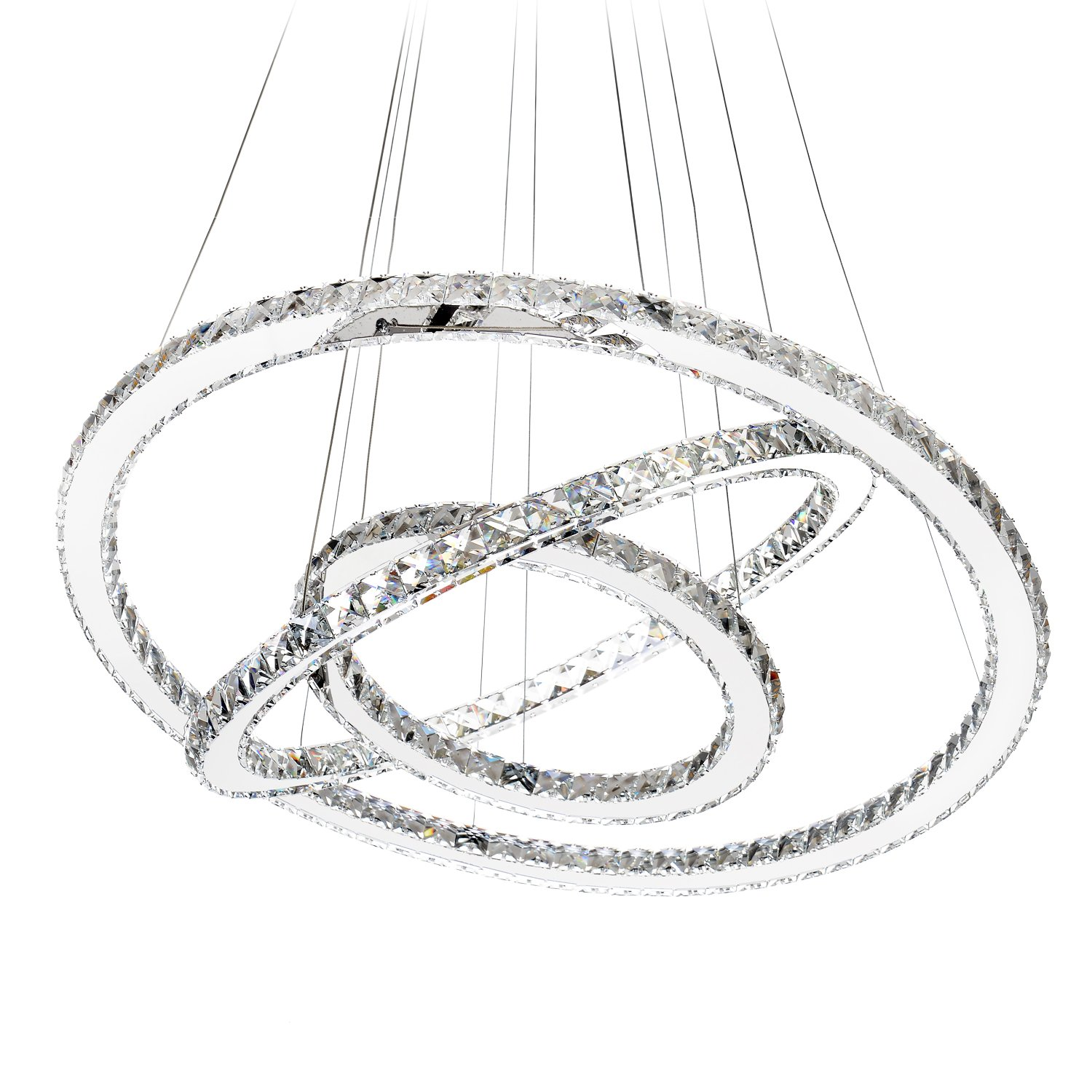 MEEROSEE MD8825-864MNCW Crystal Modern LED Ceiling Fixtures Dining Room Pendant Lights Contemporary 3 Rings Adjustable Stainless Steel Chandelier, Cool White 3r by MEEROSEE