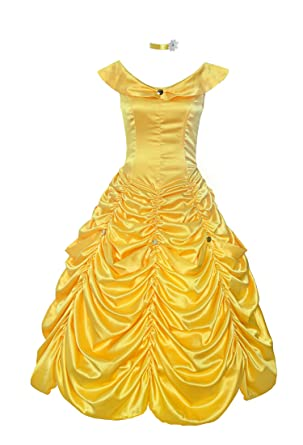ReliBeauty Womens Princess Belle Costume Layered Dress up Yellow 8-10  sc 1 st  Amazon.com : belle gown costume  - Germanpascual.Com