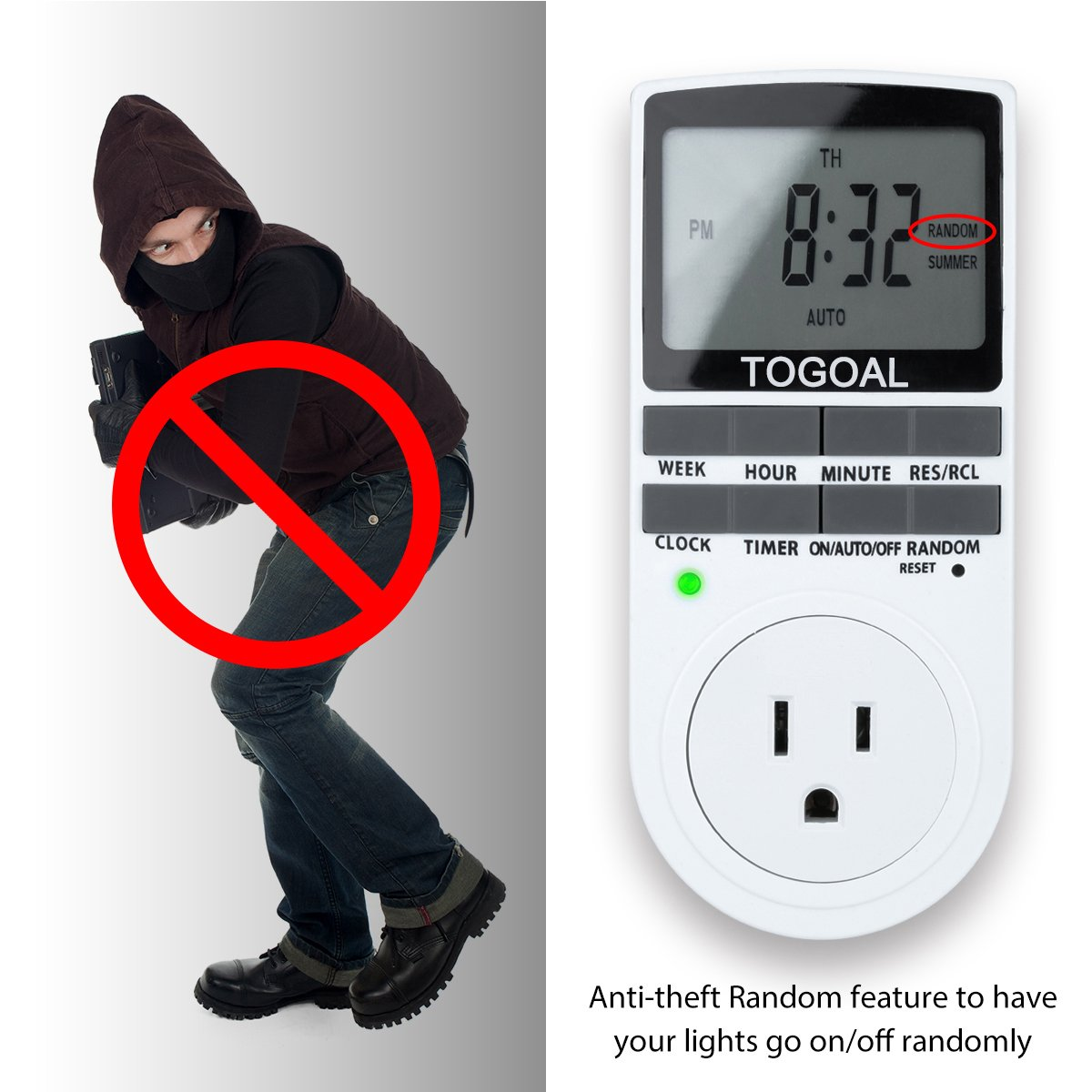Togoal Te02dt1800 Digital Light Timer Plug With 3 Prong Outlet 24 Intermatic Sprinkler Wiring 7 Programmable Indooor Electrical Switch Anti Theft Random Option 2 Packs 15a