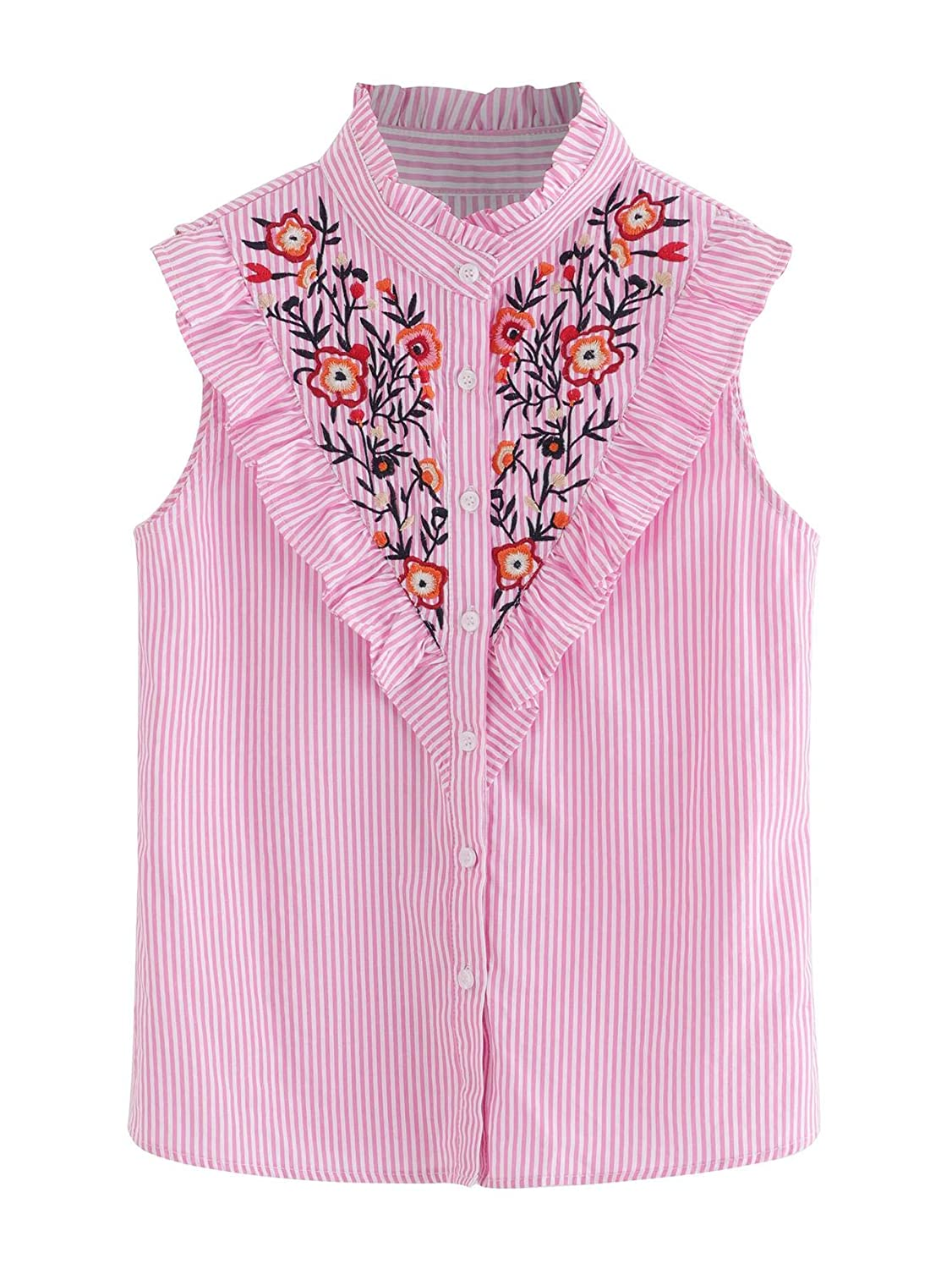 8fb3ccb20f4 Floerns Women s Vertical Striped Ruffle Floral Embroidery Blouse Shirts at  Amazon Women s Clothing store