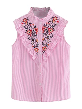 e3fe942971 Floerns Women's Vertical Striped Ruffle Floral Embroidery Blouse Shirts  Black and Pink and White XS