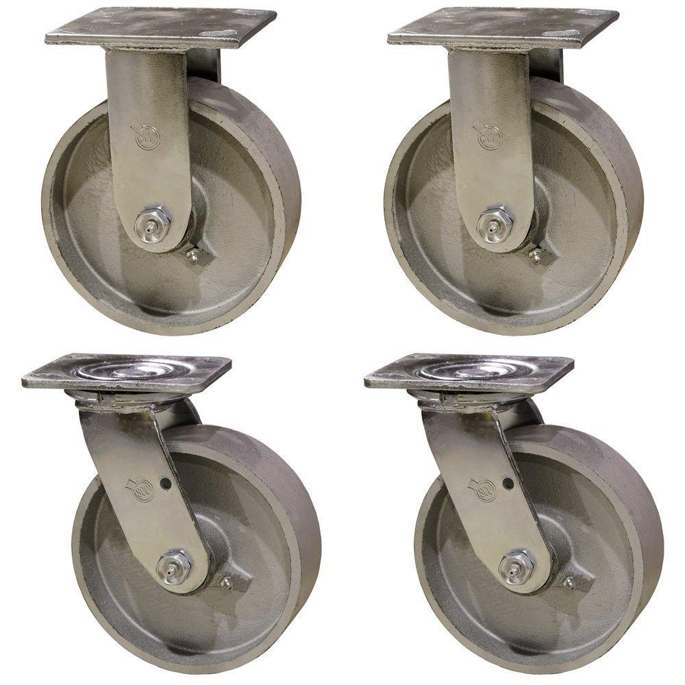 6'' Heavy Duty Semi Steel Cast Iron Casters - 2 Swivel 2 Rigid - 4,800 lb Capacity Set of 4