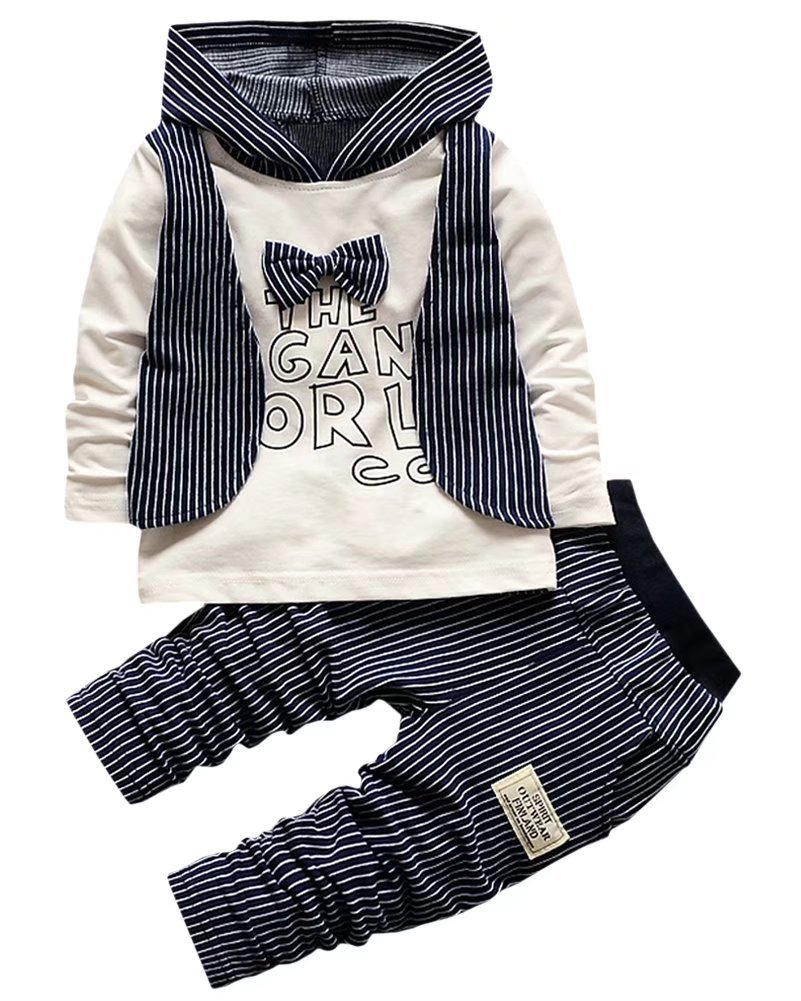 Kids Pin Stripes Outfit, Long Sleeves Bow Tie T Shirt with Hooded Hoodie Waistcoat + Jogger Pants Tuxedo Suit for Toddler Baby & Little Boys, Navy Blue 12-18 Months = Tag 80