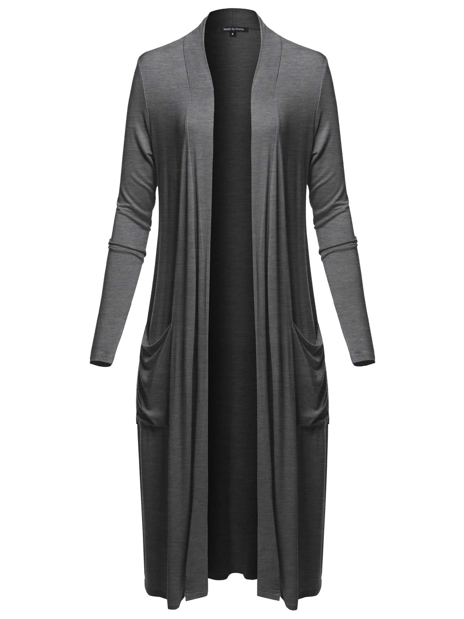 Made by Emma Long Sleeve Side Pockets Midi Length Open Front Cardigan Charcoal Grey L