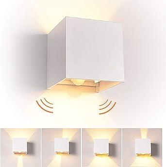 12W LED Apliques de Pared con Sensor de Movimiento Interior/exterior, modernas Lamparas de comedor, salon, Jardín con ángulo ajustable Diseño impermeable IP65 3000K Blanco Cálido (Blanco): Amazon.es: Iluminación