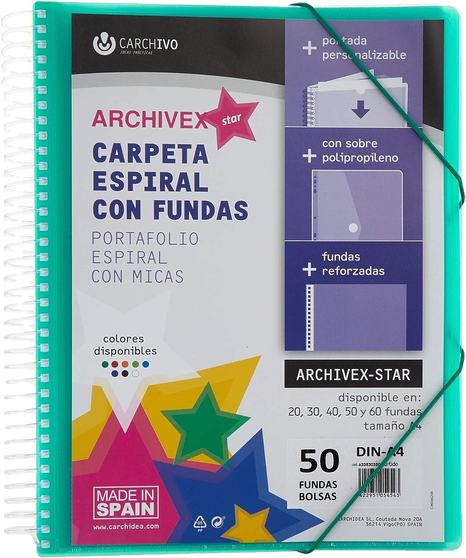 Carpeta espiral A4 50 fundas Archivex PP color surtido: Amazon.es: Oficina y papelería