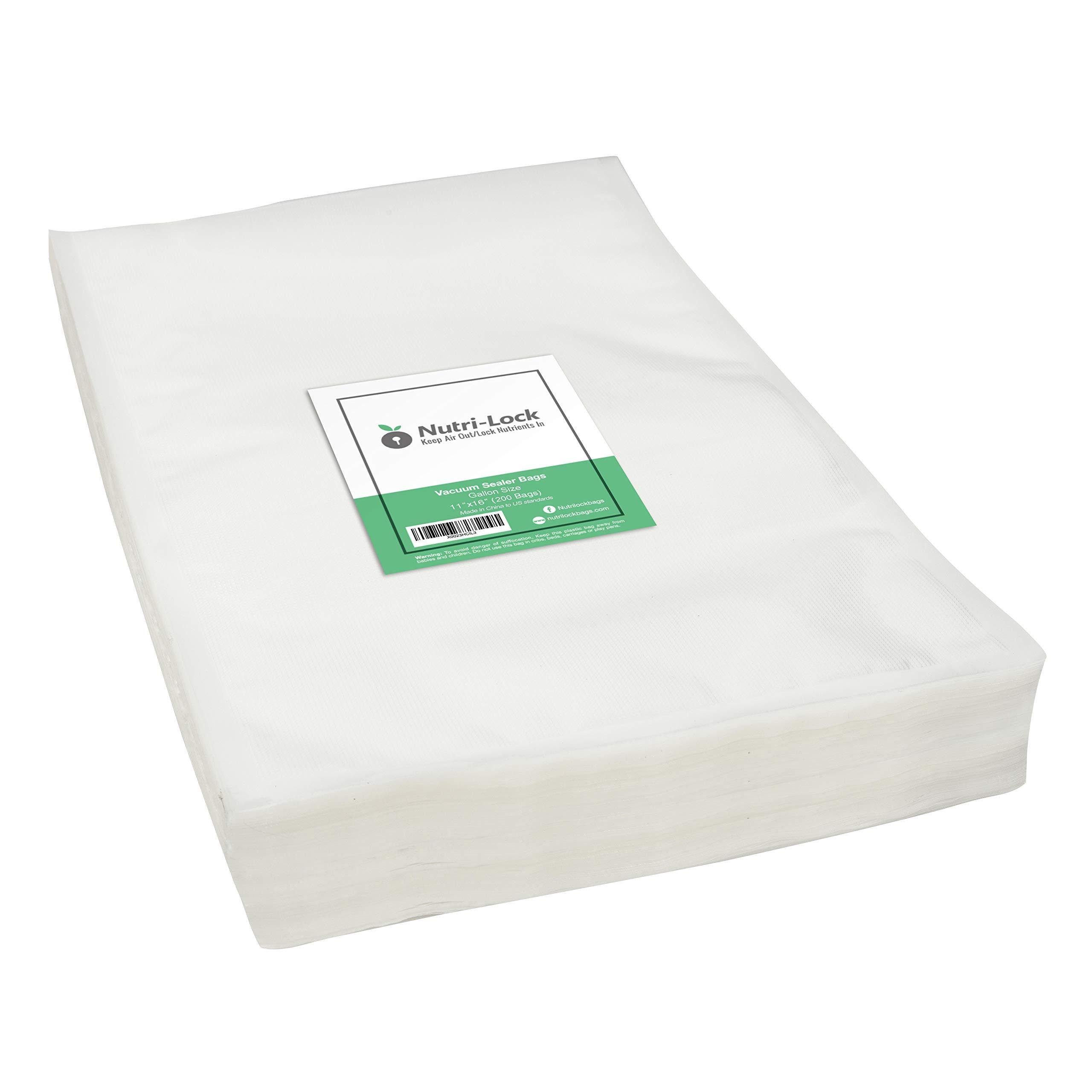 Nutri-Lock Vacuum Sealer Bags. 200 Gallon Bags 11x16 Inch. Commercial Grade Food Sealer Bags for FoodSaver, Sous Vide by Nutri-Lock