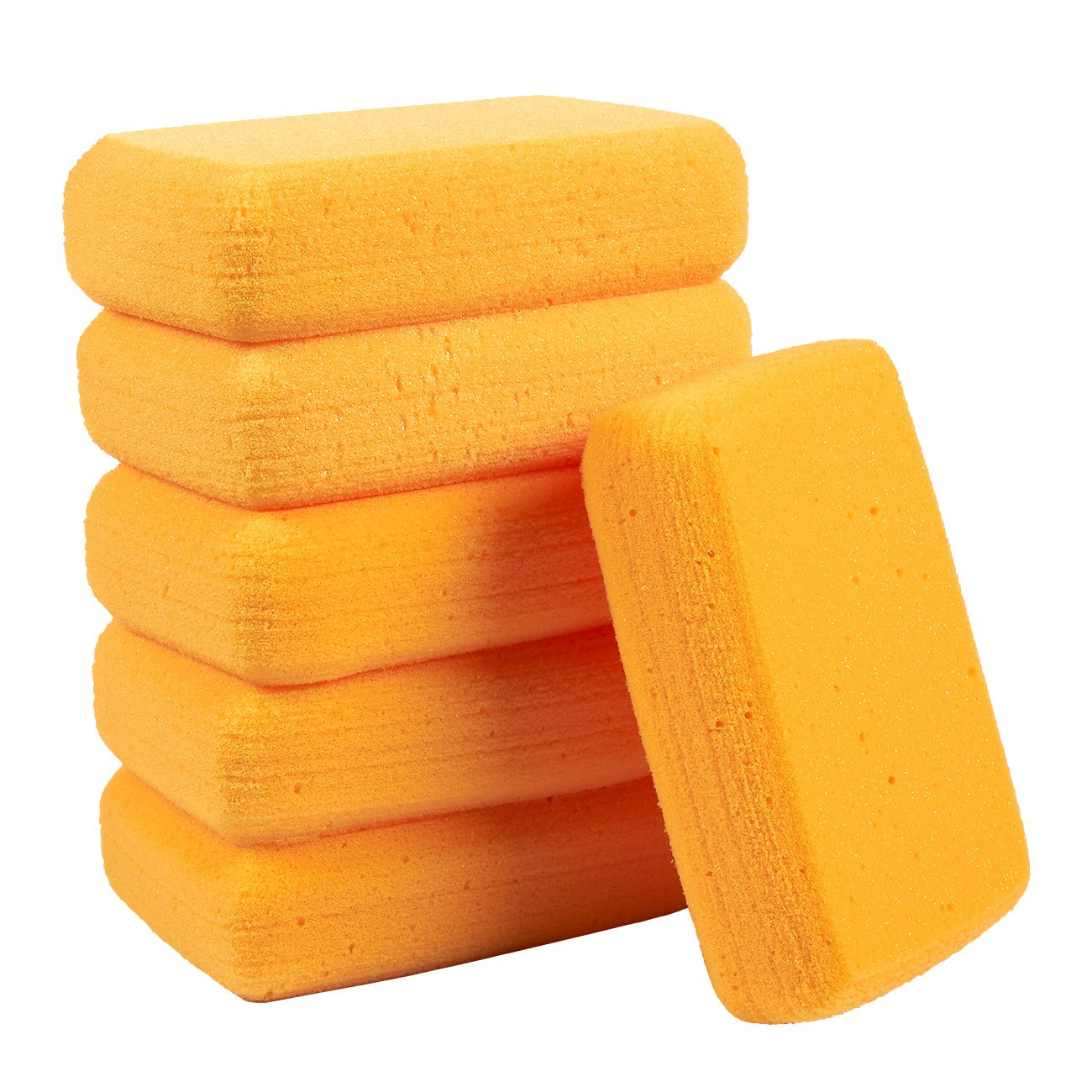 Blue Panda Pack of 6 Synthetic Sponges - Large Craft Sponges - Ideal for Painting, Crafts, Pottery, Clay, Household Use, 7.5 x 2 x 5 Inches, Orange by Blue Panda