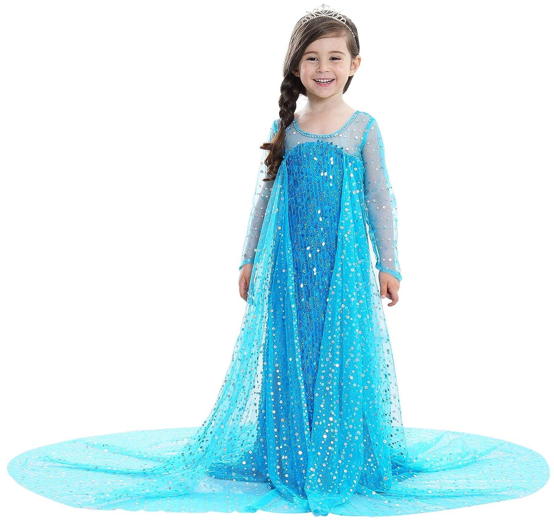 Lurwsuit Girls Sequined Princess Dress Halloween Cosplay Long Sleeve Fancy Party Dress Up Costume