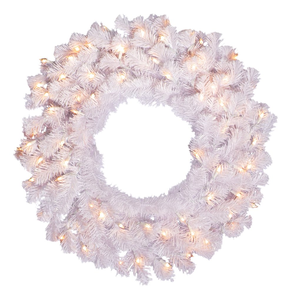 Vickerman 48 Crystal White Spruce Wreath with 150 Clear Lights