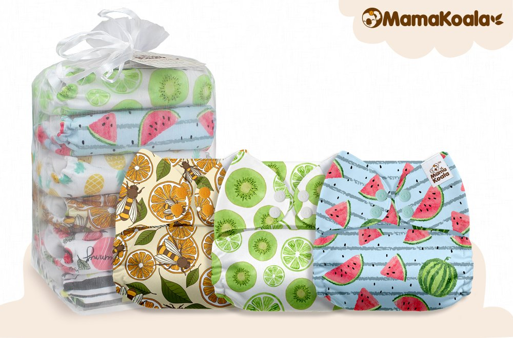 Mama Koala One Size Baby Washable Reusable Pocket Cloth Diapers Happy Harvest 6 Pack with 6 One Size Microfiber Inserts