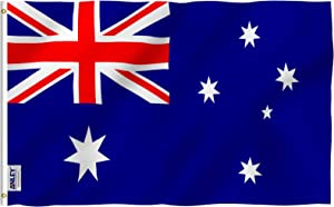 Anley Fly Breeze 3x5 Foot Australia Flag - Vivid Color and Fade Proof - Canvas Header and Double Stitched - Australian National Flags Polyester with Brass Grommets 3 X 5 Ft