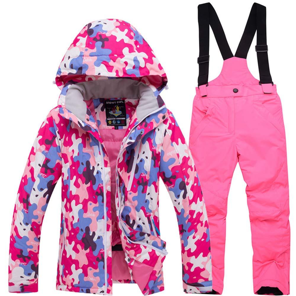 Rose rouge Top+bright rose XX-grand VêteHommests de Ski pour Enfants Filles Filles Coupe-Vent imperméable Coupe extérieur Veste Coton vêteHommests garçons (Couleur   Rose rouge Top+Bright rose, Taille   XL)