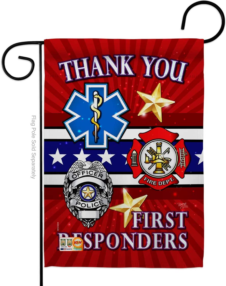 First Responders Garden Flag - Armed Forces Service All Branches Support Honor United State American Military Veteran Official - House Banner Small Yard Gift Double-Sided Made in USA 13 X 18.5