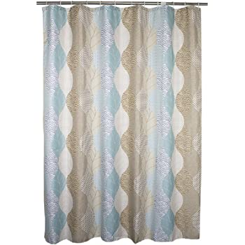 Ufaitheart Fabric Extra Wide Shower Curtain 96 X 72 Inches Abstract Leaves Pattern Bathroom Decorative Bath Curtains Brown Beige And Turquoise