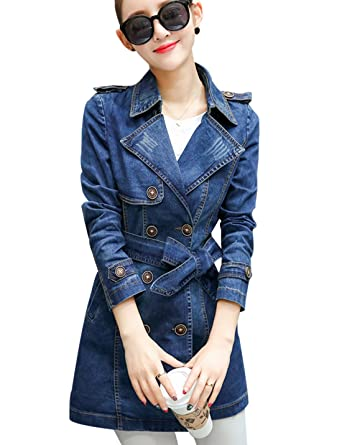 b51a9f20922a Tanming Women s Belted Double Breasted Long Denim Jean Jacket Trench Coat  (Small
