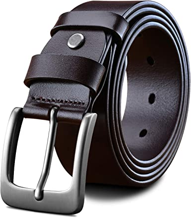 LUCIANO Fashion Genuine Leather Italy Cowhide with Prong Buckle Dress Belt for Men