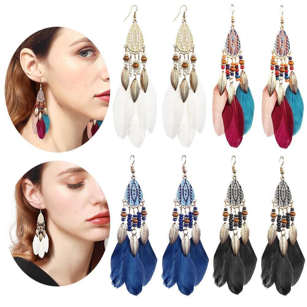 4 Pairs Vintage Long Bohemian Fringe Tassel Leaf Feather Beeded Dream Catcher Drop Dangle Earrings Set for Women Girls