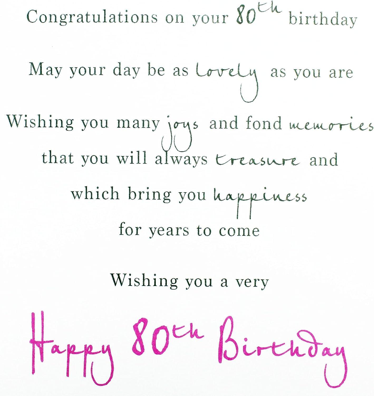 Sur votre 80th 80 Fleurs Tasse à Thé /& mot design Happy Birthday Card Lovely Verset