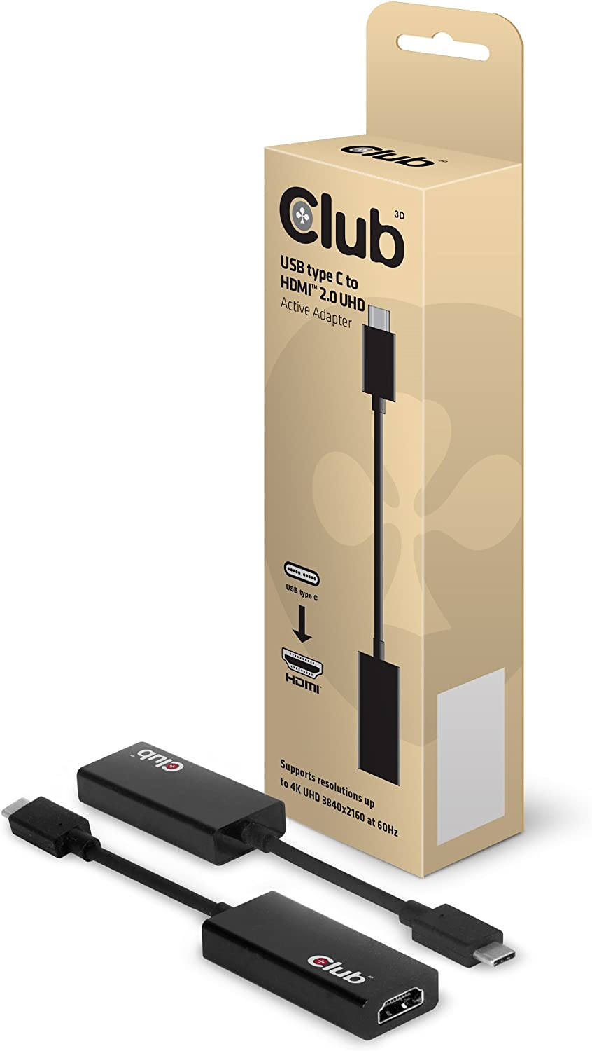"Club 3D ,CAC-1504,USB-C to HDMI 2.0 Adapter for MacBook Retina 12"" 2015 / 2016, XPS 2016, Chromebook Pixel 2015, Thunderbolt 3 & More (Supports 4K / UHD Displays up to 3840x2160@60Hz)"