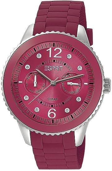 Esprit ES105332013 - Reloj analógico de cuarzo para mujer, correa de silicona color morado: Amazon.es: Relojes