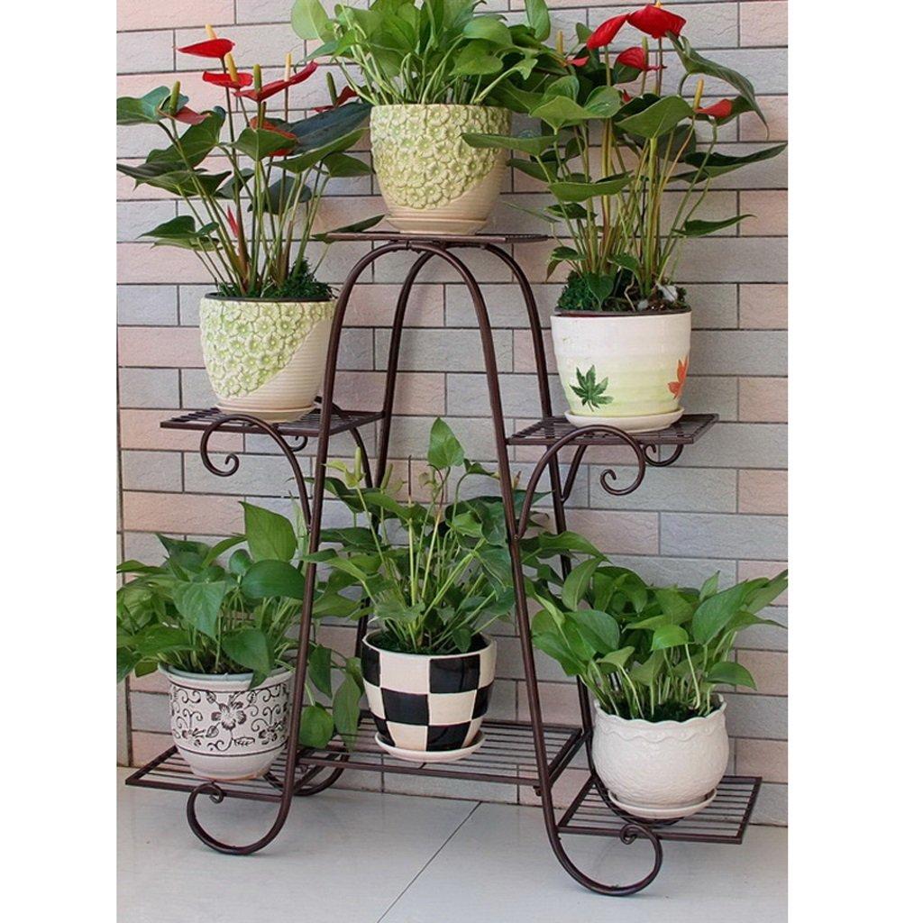 Six couches de supports à fleurs fer à plusieurs étages porte-fleurs vert radix laqué balcon fleur étage étagère salon intérieur plancher fleur pot rack (Couleur : Bronze) young baby