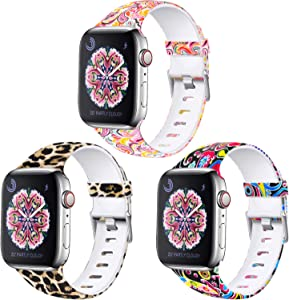 Laffav Compatible with Apple Watch Band 40mm 38mm iWatch SE & Series 6 & Series 5 4 3 2 1 for Women, Classic Leopard, Paisley, Colorful Jellfish, 3 Pack, S/M