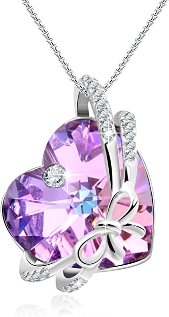NEW Amethyst Purple Crystal Necklace Silver Love Xmas Gifts For Her Couple Women