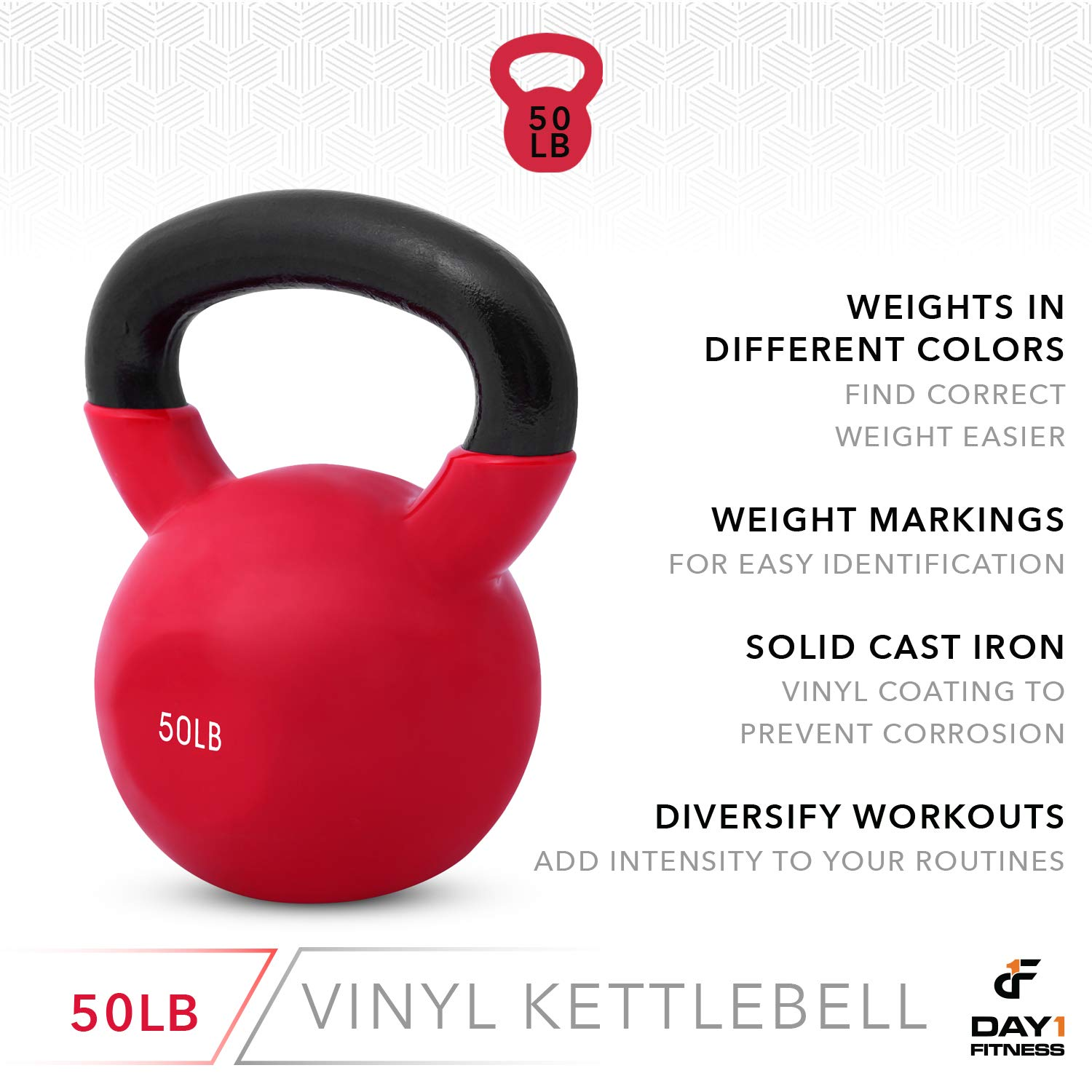 Day 1 Fitness Kettlebell Weights Vinyl Coated Iron 50 Pounds - Coated for Floor and Equipment Protection, Noise Reduction - Free Weights for Ballistic, Core, Weight Training by Day 1 Fitness (Image #5)