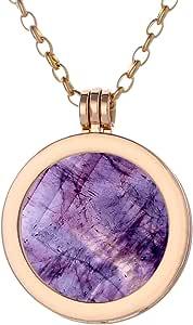 Morella Mujeres Collar 70 cm Acero Inoxidable Oro y Colgante con Coin Moneda Amuleto de Piedra Preciosa Gema 33 mm Plato de Chakra en Bolsa de joyería