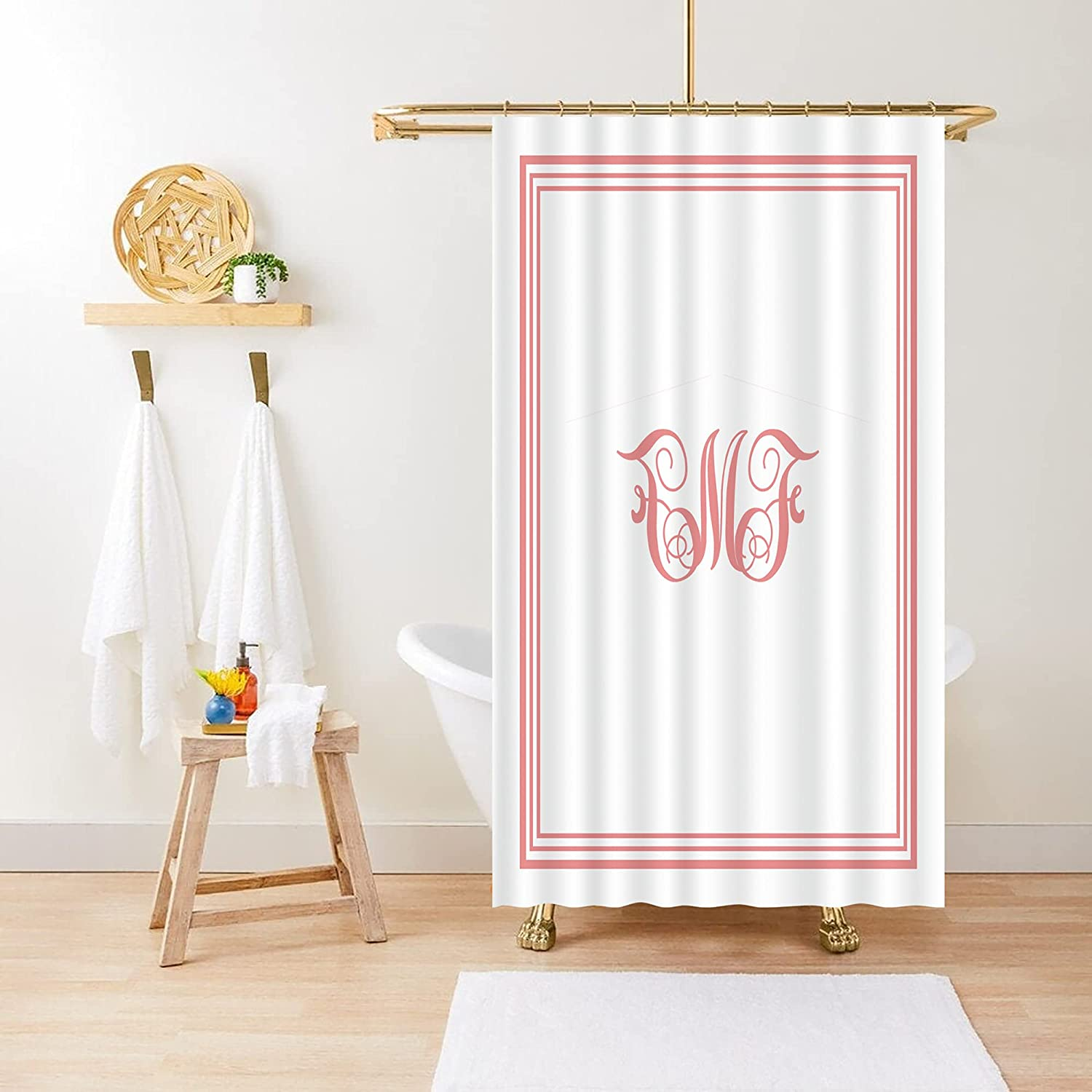 Custom Shower Curtain,Personalized Picture Name Text on Waterproof Shower Curtain,Housewarming Wedding Gift and Home Decor