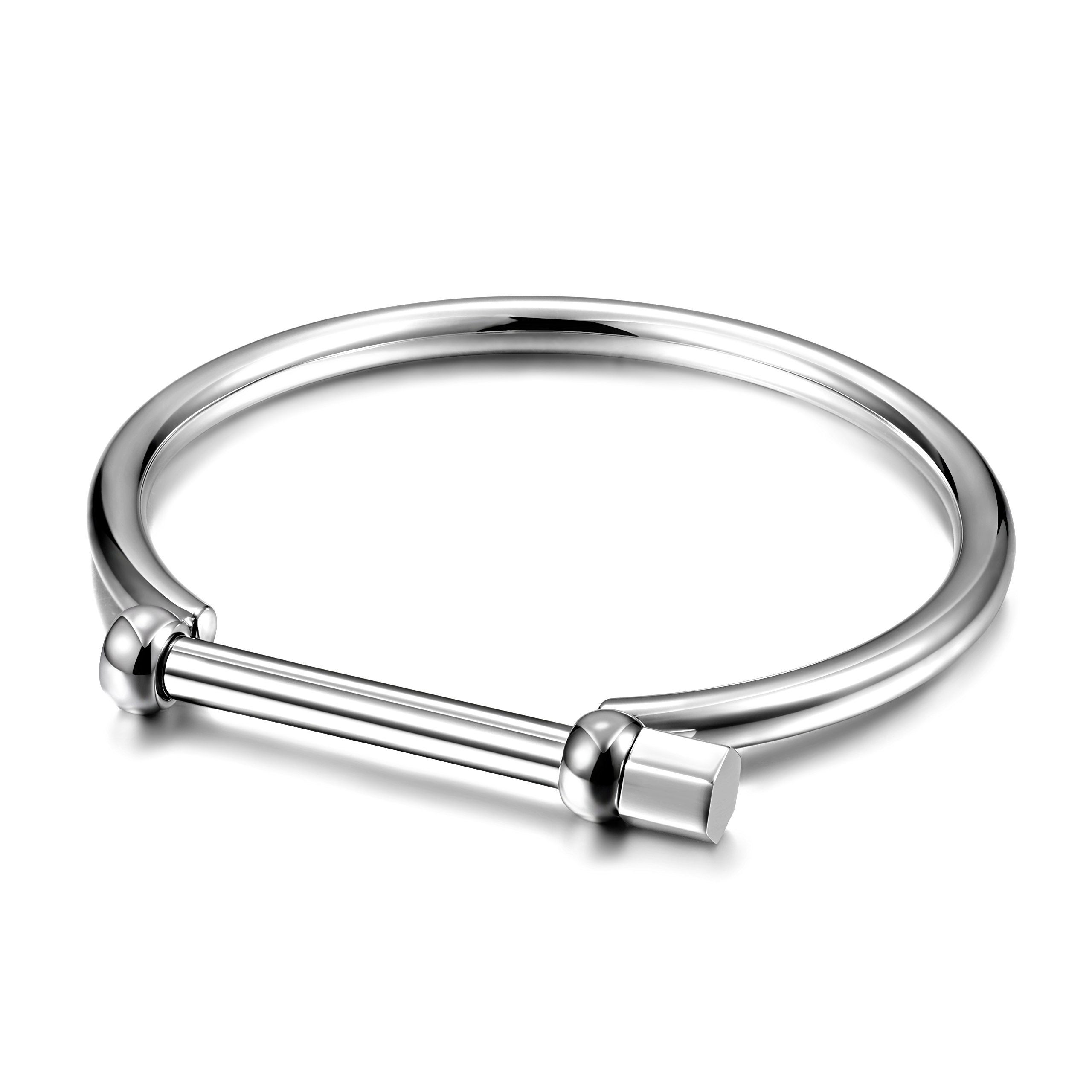 Wistic Gold Cuff Bangle Bracelet Stainless Steel Screw Bar Bracelet for Women Men (Black Male) (Male White)