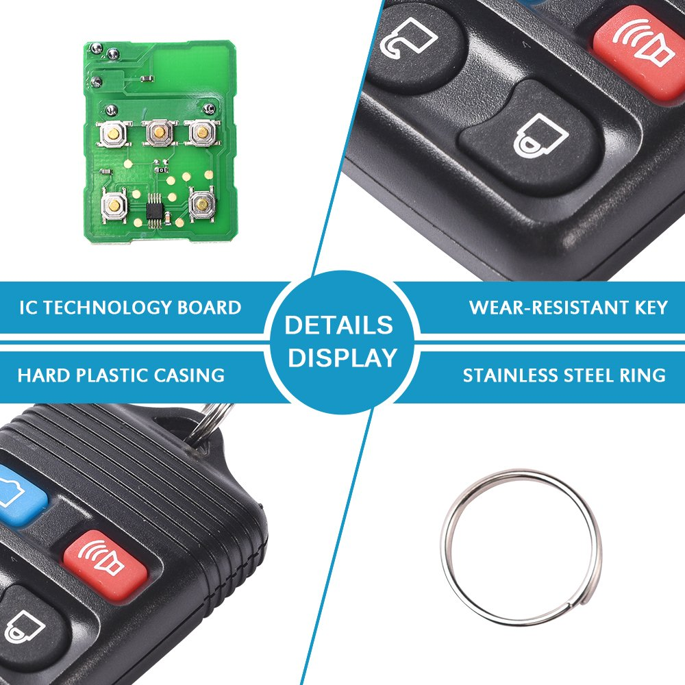 Lincoln Mazda Mustang Explorer Escape Focus Fusion Taurus Black, 2 Pack Mercury MICTUNING Keyless Entry Remote Control Car Key Fob Replacement 4 Button Clicker Transmitter fits Ford