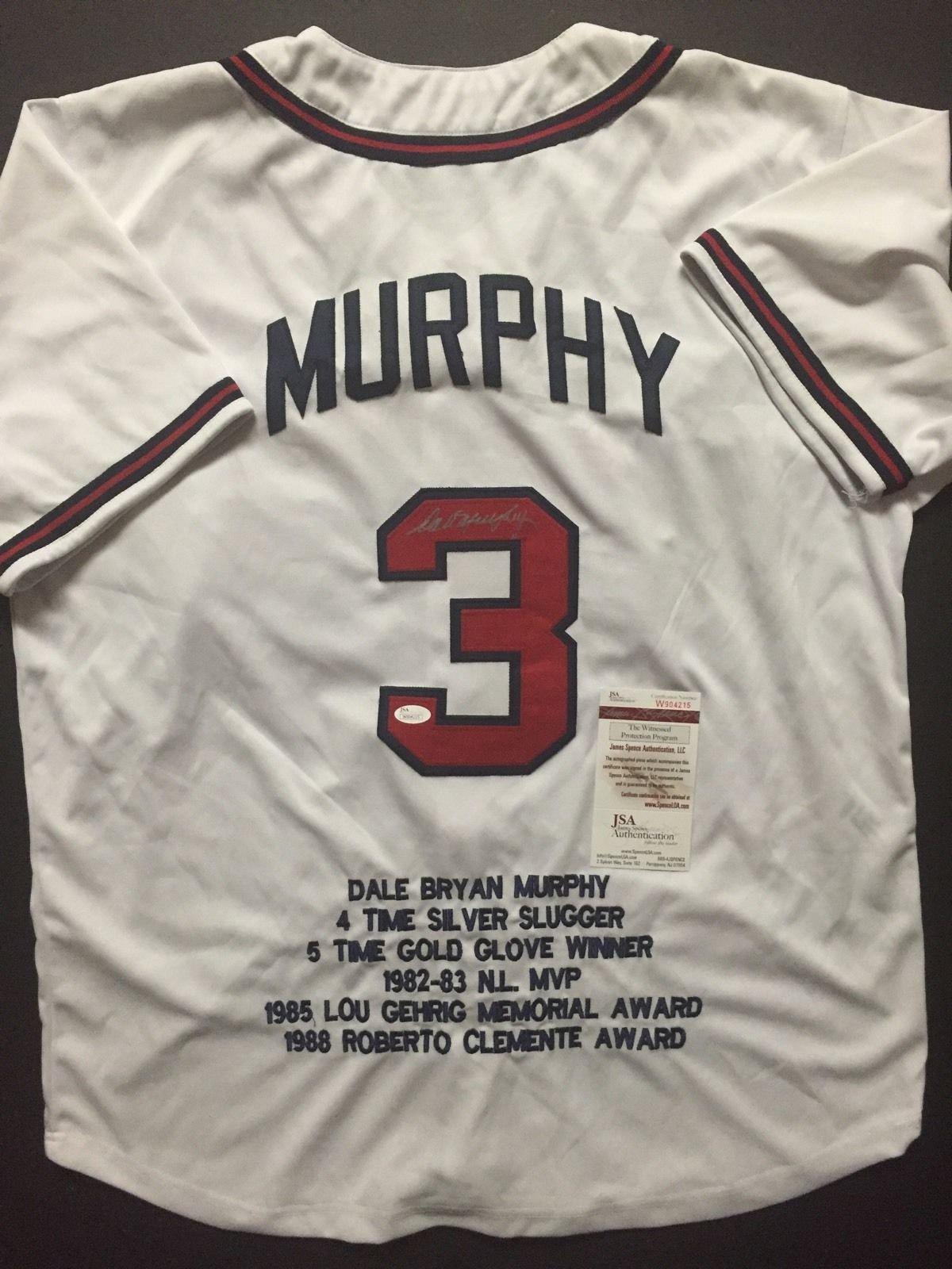 Autographed/Signed Dale Murphy Atlanta White Stat Baseball Jersey JSA COA