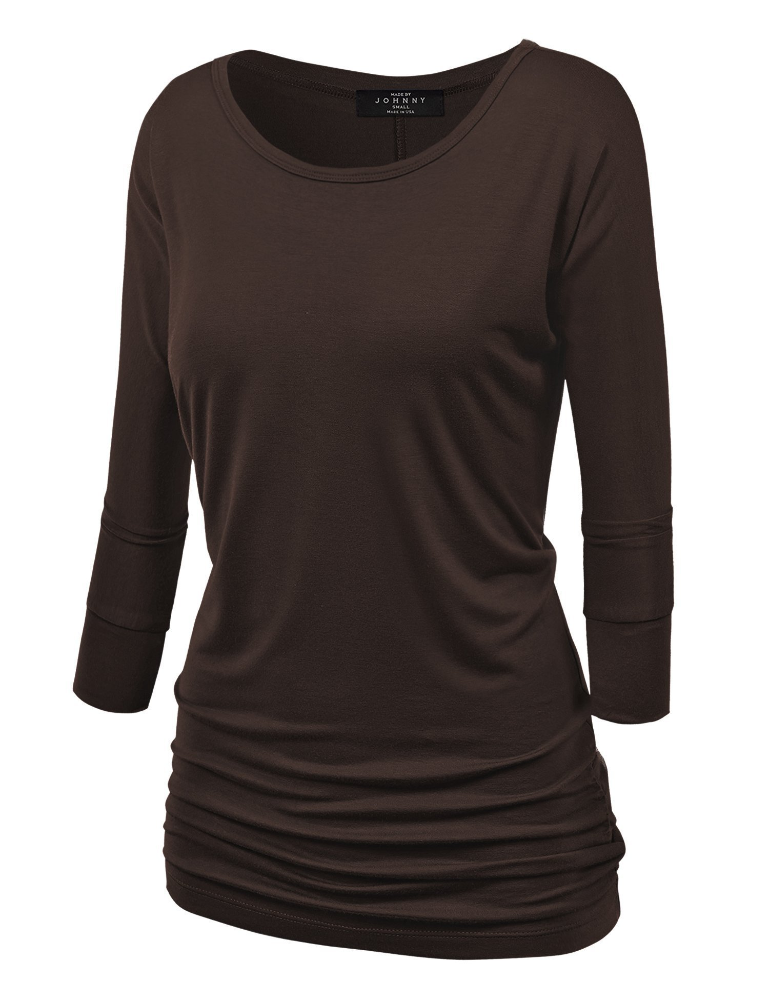 Made By Johnny WT822 Womens 3/4 Sleeve with Drape Top M Brown