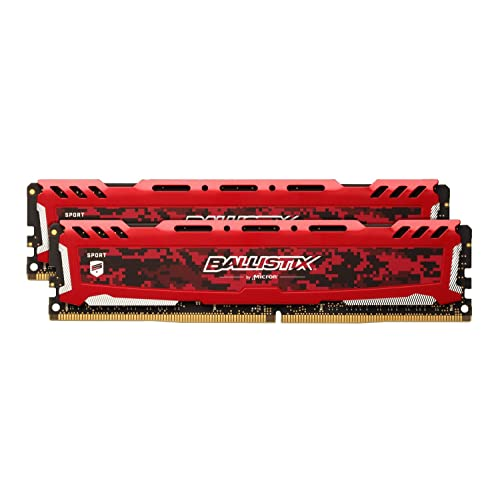 Crucial Ballistix Sport LT BLS2K8G4D240FSEK 2400 MHz DDR4 DRAM Mémoire Kit pour PC de Gamer 16Go 8Gox2 CL16 Rouge