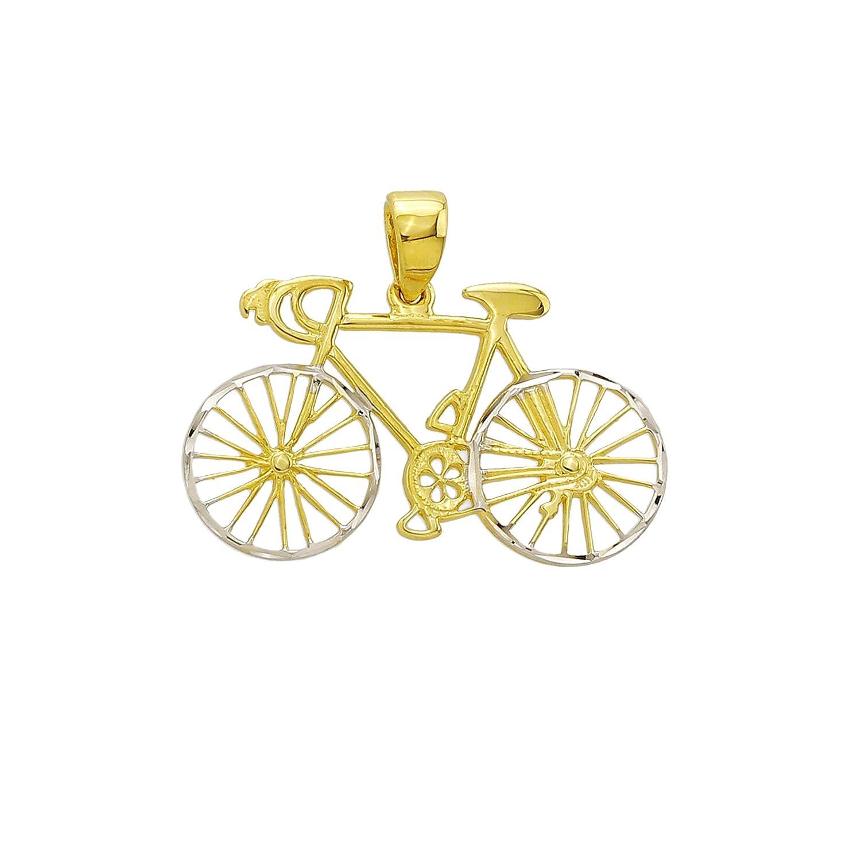 Goldanhänger Radfahrrad Fahrrad in 585 Gold Anhänger Kettenanhänger Schmuck 2041 JC Schmuck