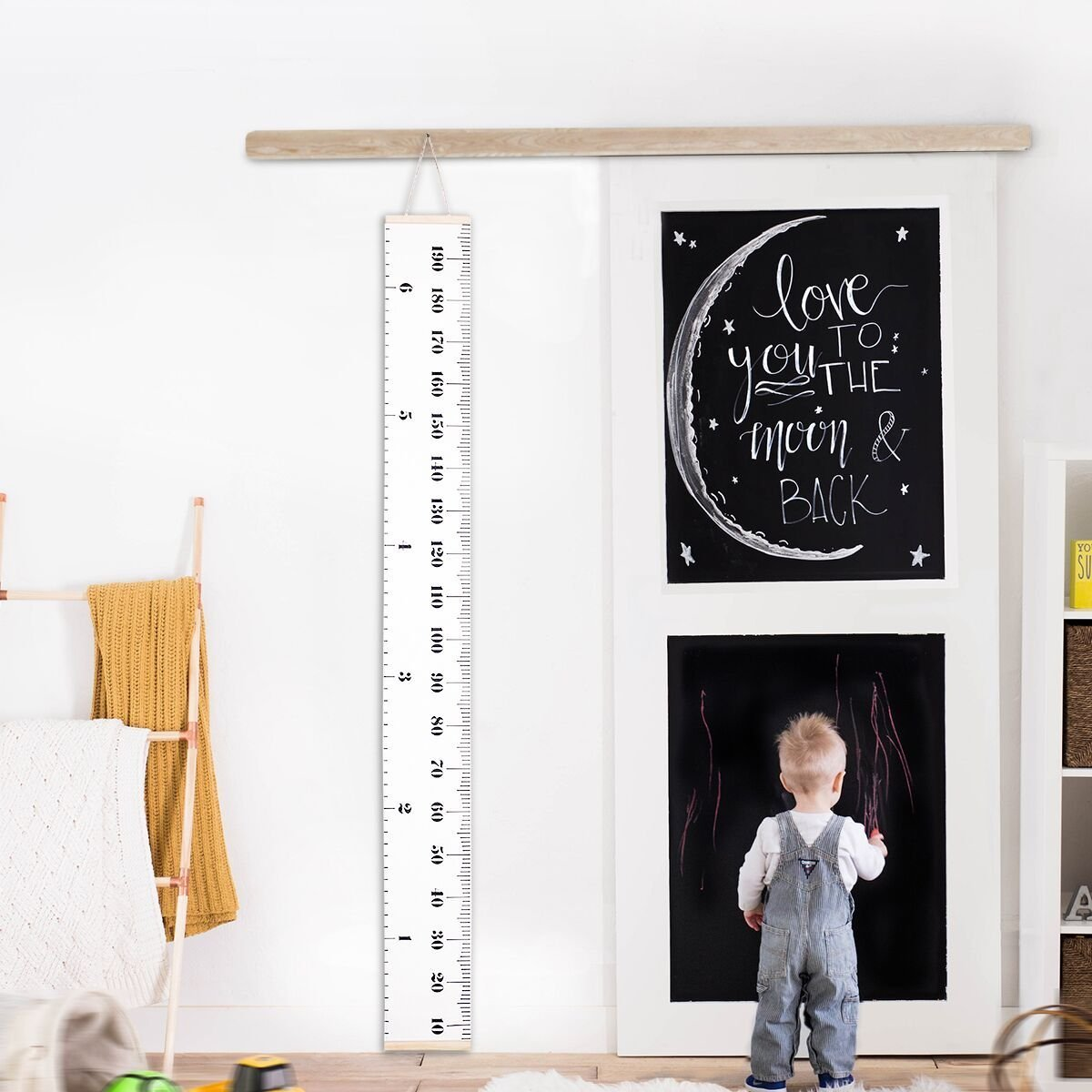 TKSTAR Removable Growth Chart Handing Ruler Wall Decor for Kids Wood Frame Height Measurement Rulers JU-BR04 (A)
