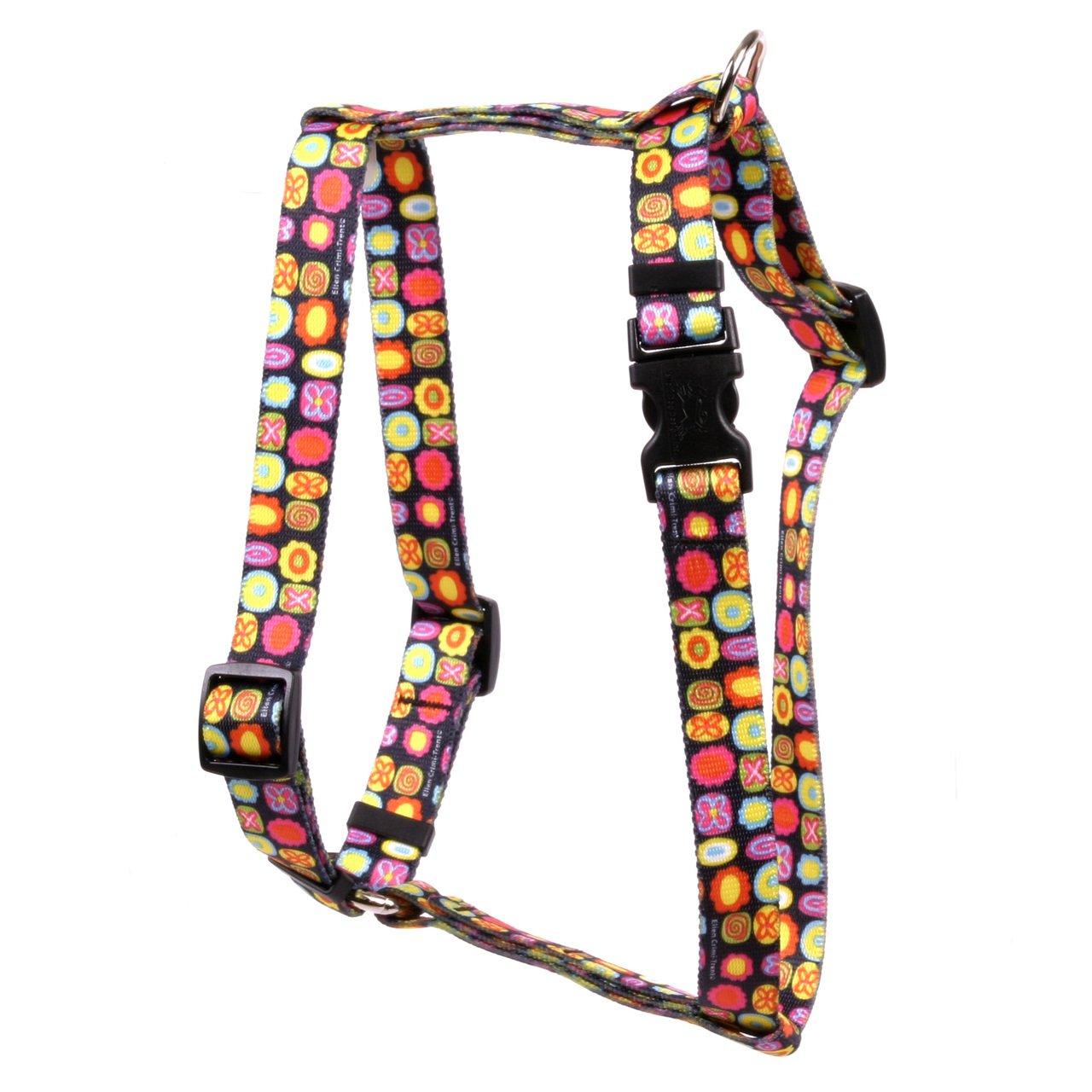 Large 20\ Yellow Dog Design Bright Fun Roman Style H Dog Harness, Large