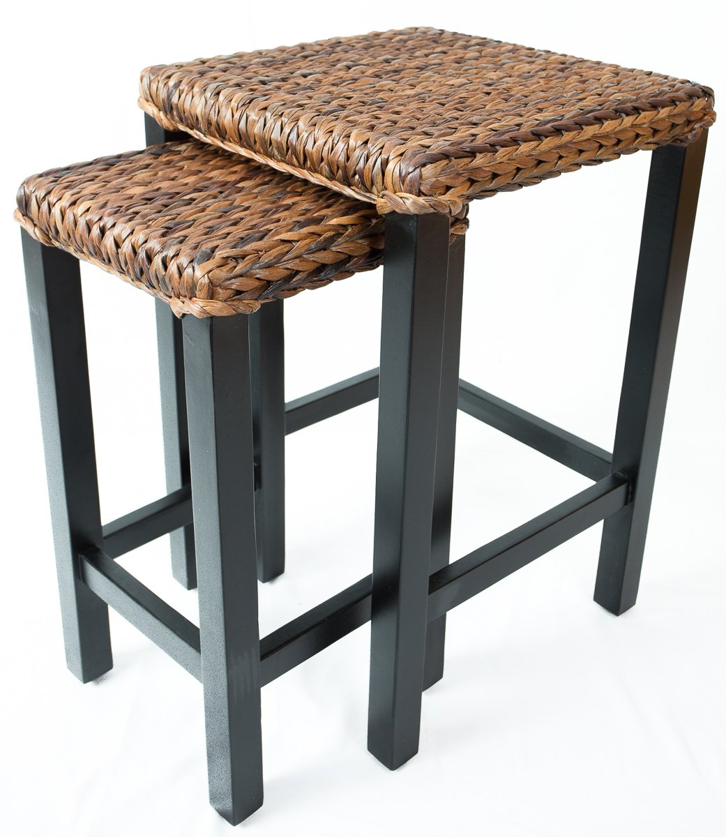 BIRDROCK HOME Seagrass Nesting Accent Tables – Hand Woven Seagrass – Fully Assembled